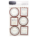 Pebbles - Along The Way Collection - Layered Cardstock and Wood Sticker with Foil Accents