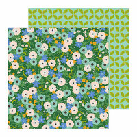 Pebbles - Along The Way Collection - 12 x 12 Double Sided Paper - Flower Market
