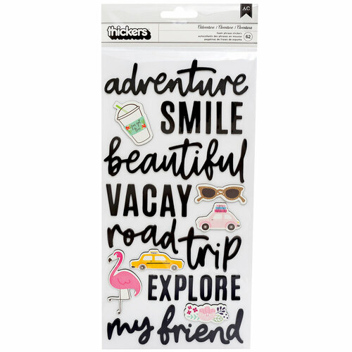 Pebbles - Chasing Adventure Collection - Thickers - Foam - Phrases and Icons