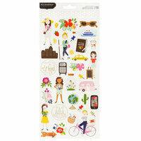 Pebbles - Chasing Adventure Collection - Cardstock Stickers with Foil Accents - Phrases and Icons