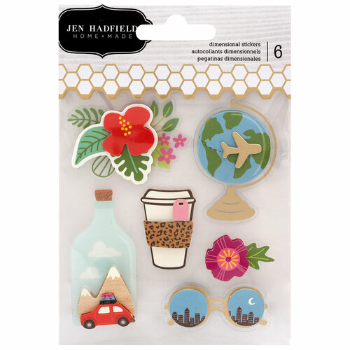 Pebbles - Chasing Adventure Collection - 3 Dimensional Stickers with Foil Accents