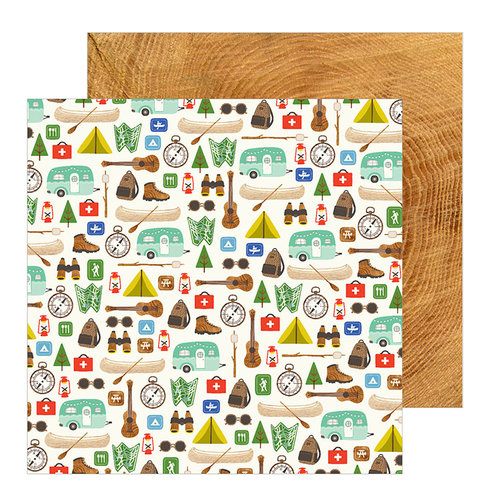 Pebbles - Chasing Adventure Collection - 12 x 12 Double Sided Paper - The Great Outdoors