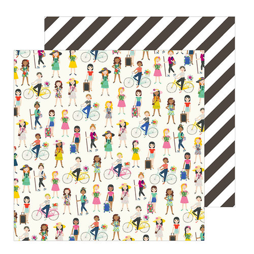 Pebbles - Chasing Adventure Collection - 12 x 12 Double Sided Paper - On The Go Girls