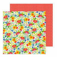 Pebbles - Chasing Adventure Collection - 12 x 12 Double Sided Paper - Fiesta Flowers
