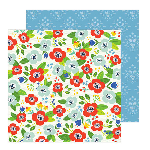 Pebbles - Chasing Adventure Collection - 12 x 12 Double Sided Paper - Flower Market