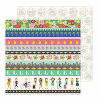 Pebbles - Chasing Adventure Collection - 12 x 12 Double Sided Paper - Adventure Strips