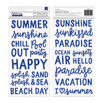 Pebbles - Oh Summertime Collection - Thickers - Foam - Blue Glitter - Phrase and Icons