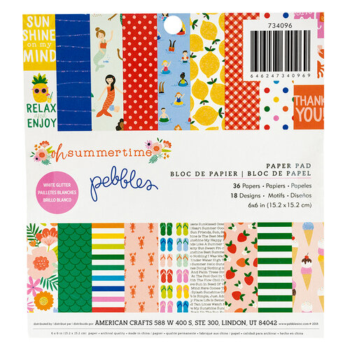 Pebbles - Oh Summertime Collection - 6 x 6 Paper Pad with Glitter Accents