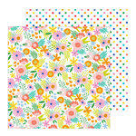 Pebbles - Oh Summertime Collection - 12 x 12 Double Sided Paper - Summer Bouquet