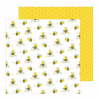 Pebbles - Oh Summertime Collection - 12 x 12 Double Sided Paper - Bee Happy
