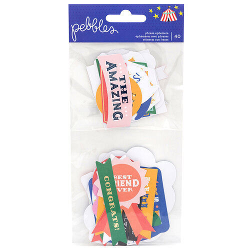Pebbles - Big Top Dreams Collection - Ephemera with Foil Accents - Phrases