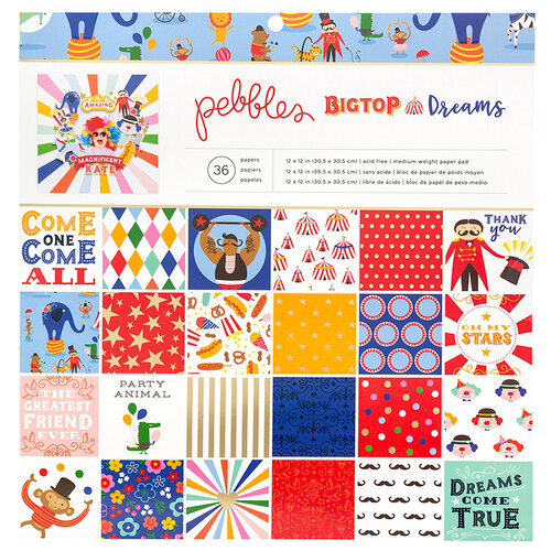 Pebbles - Big Top Dreams Collection - 12 x 12 Paper Pad with Foil Accents