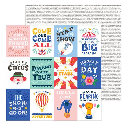 Pebbles - Big Top Dreams Collection - 12 x 12 Double Sided Paper - Big Top Quotes