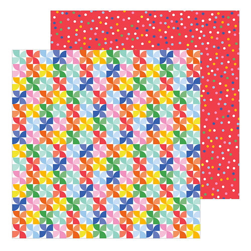 Pebbles - Big Top Dreams Collection - 12 x 12 Double Sided Paper - Pinwheels