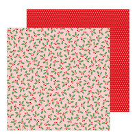 Pebbles - Merry Little Christmas Collection - 12 x 12 Double Sided Paper - Jolly Holly