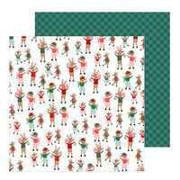 Pebbles - Merry Little Christmas Collection - 12 x 12 Double Sided Paper - Dancing Reindeer