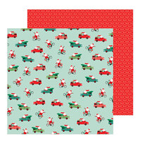 Pebbles - Merry Little Christmas Collection - 12 x 12 Double Sided Paper - Santa On The Go