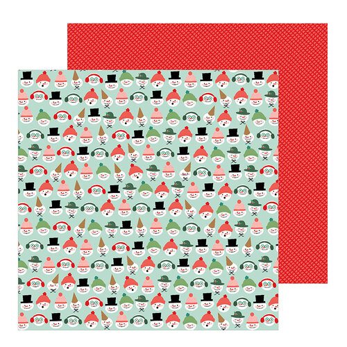 Pebbles - Merry Little Christmas Collection - 12 x 12 Double Sided Paper - Snow Friends