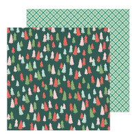 Pebbles - Merry Little Christmas Collection - 12 x 12 Double Sided Paper - Oh Christmas Tree