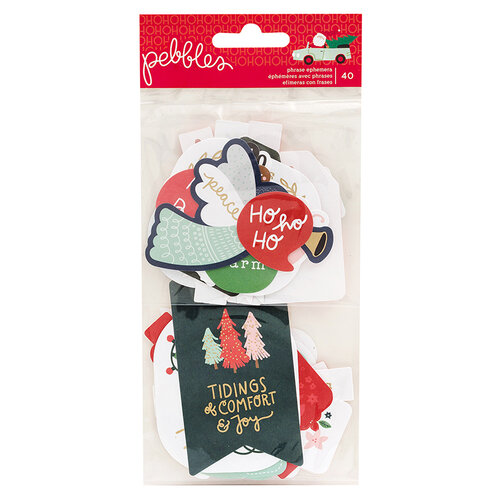 Pebbles - Merry Little Christmas Collection - Ephemera with Foil Accents - Phrases
