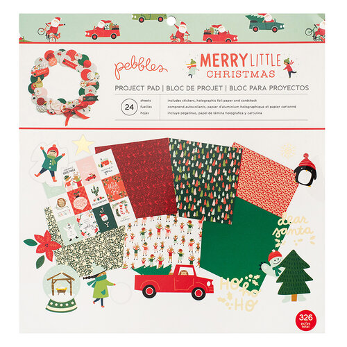 Pebbles - Merry Little Christmas - 12 x 12 Project Pad with Foil Accents