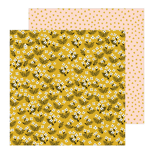 Pebbles - This Is Family Collection - 12 x 12 Double Sided Paper - Golden Field