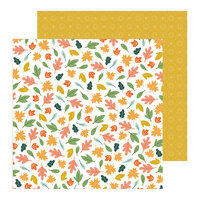 Pebbles - This Is Family Collection - 12 x 12 Double Sided Paper - Scattered Leaves