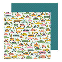 Pebbles - This Is Family Collection - 12 x 12 Double Sided Paper - Road Trip