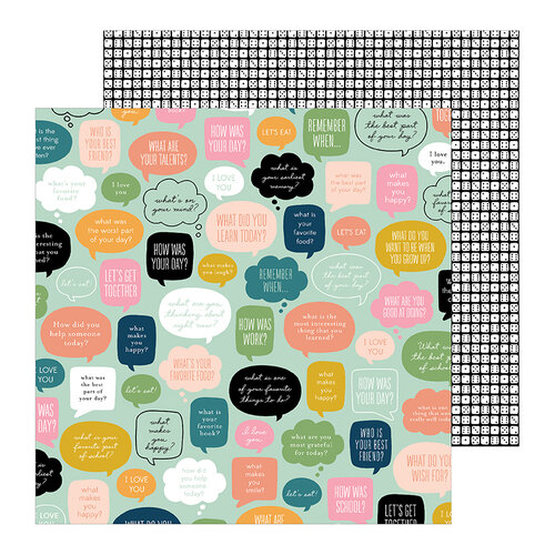Pebbles - This Is Family Collection - 12 x 12 Double Sided Paper - Chit Chat