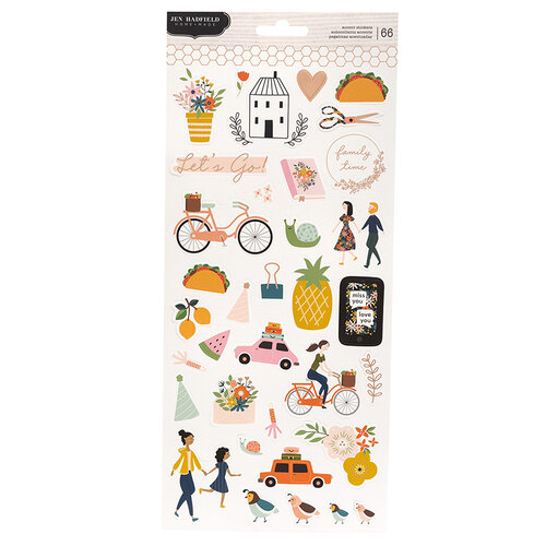 Pebbles - This Is Family Collection - 6 x 12 Cardstock Sticker Sheet with Foil Accents