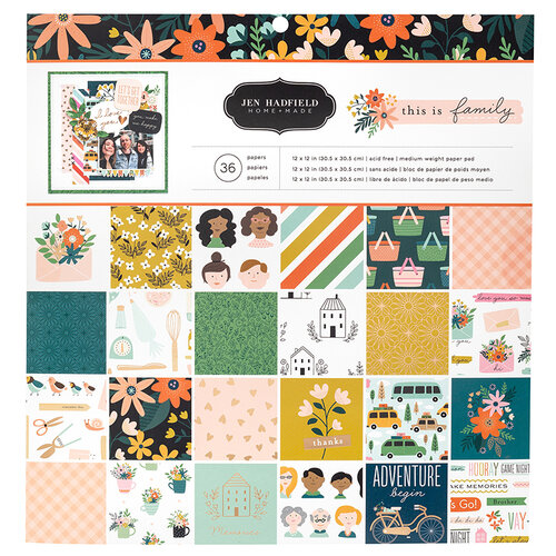 Pebbles - This Is Family Collection - 12 x 12 Paper Pad With Copper Foil Accents