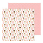 Pebbles - Peek-A-Boo You Collection - 12 x 12 Double Sided Paper - Girl - Baby Love Girl