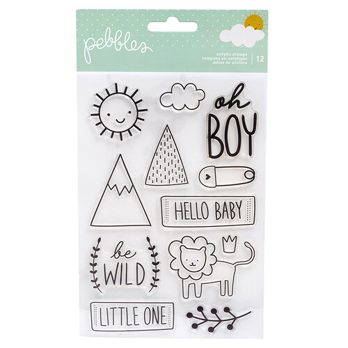 Pebbles - Peek-A-Boo You Collection - Clear Acrylic Stamps - Boy