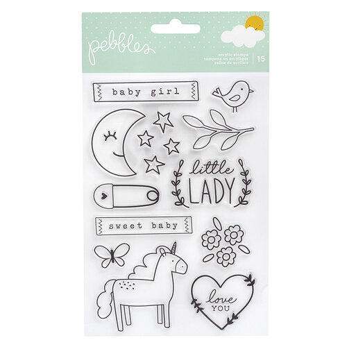 Pebbles - Peek-A-Boo You Collection - Clear Acrylic Stamps - Girl