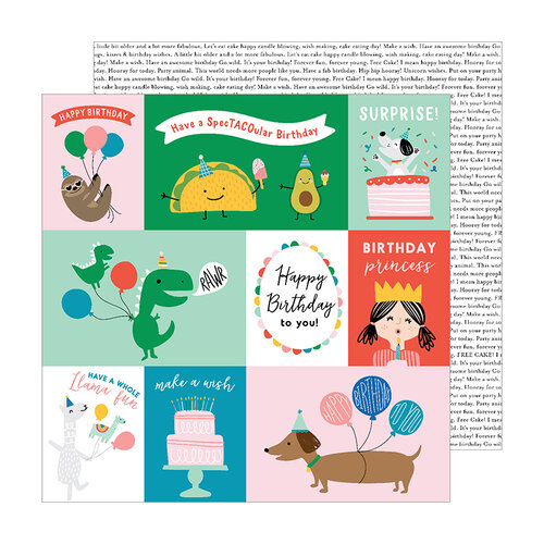 Pebbles - Happy Cake Day Collection - 12 x 12 Double Sided Paper - Cake Day