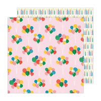 Pebbles - Happy Cake Day Collection - 12 x 12 Double Sided Paper - Balloon Bouquet