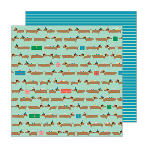 Pebbles - Happy Cake Day Collection - 12 x 12 Double Sided Paper - Hot Diggity Dog
