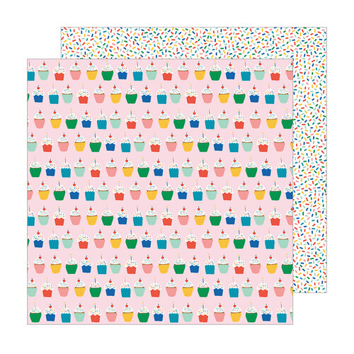 Pebbles - Happy Cake Day Collection - 12 x 12 Double Sided Paper - Hey Cupcake
