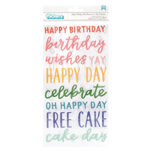 Pebbles - Happy Cake Day Collection - Thickers - Phrase - Puffy and Semi Glossy