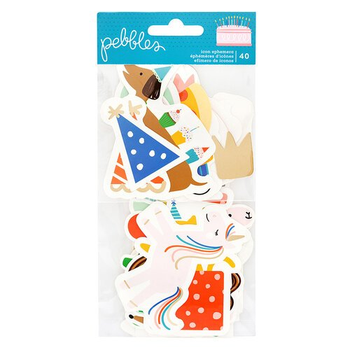 Pebbles - Happy Cake Day Collection - Ephemera - Icon with Foil Accents