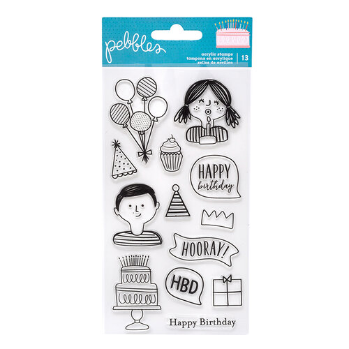 Pebbles - Happy Cake Day Collection - Clear Acrylic Stamp Set