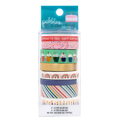 Pebbles - Happy Cake Day Collection - Washi Tape with Foil Accents