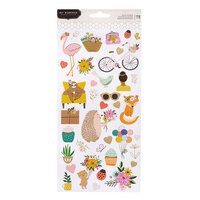 Pebbles - Hey, Hello Collection - 6 x 12 Cardstock Stickers with Foil Accents