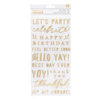 Pebbles - Hey, Hello Collection - Thickers - Phrase - Puffy - Gold with Foil Accents