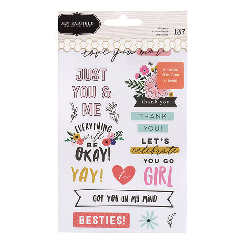 Pebbles - Hey, Hello Collection - Cardstock Sticker Book with Foil Accents