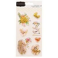 Pebbles - Hey, Hello Collection - Shaker Stickers with Foil Accents
