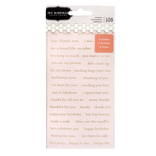 Pebbles - Hey, Hello Collection - Repeat Cardstock Label Stickers with Foil Accents