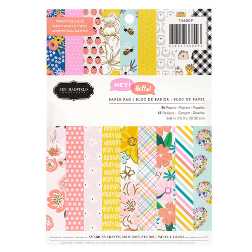 Pebbles - Hey, Hello Collection - 6 x 8 Paper Pad with Foil Accents