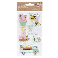 Pebbles - Lovely Moments Collection - Shaker Stickers - Iridescent Glitter Accents