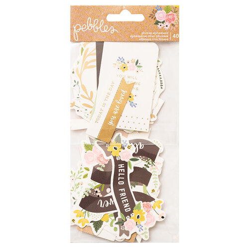 Pebbles - Lovely Moments Collection - Ephemera - Phrase with Foil Accents